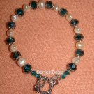 FRESHWATER PEARL/CLEAR AQUAMARINE BEADS FASHION BRACELET