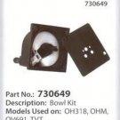 OEM Tecumseh Craftsman 730649 Carburetor Float Bowl Kit