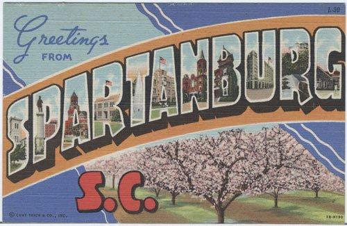 PZLL Spartanburg SC Large Letter Linen Postcard 1942 Curteich