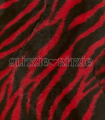 Soft Fur Red Zebra Fabric - 1 yd