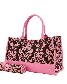 Damask Print Diaper Bag (Brown/Pink)