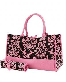 Damask Print Diaper Bag (Black/Pink)
