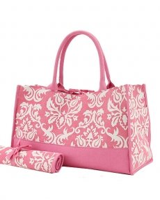Damask Print Diaper Bag (Pink/White)