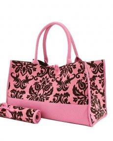 Damask Print Diaper Bag (Pink/Brown)