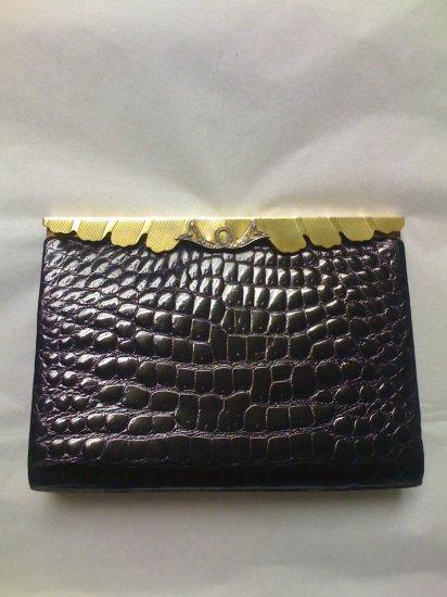 Coblentz Black Crocodile and Brass Evening Clutch