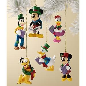 Disney Store Mickey & Friends 6-Pc. Christmas Carolers Storybook Ornament Set NEW