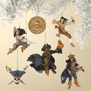 Disney Store Pirates of the Caribbean: Dead Man's Chest 6-Pc Storybook Ornament Set NEW