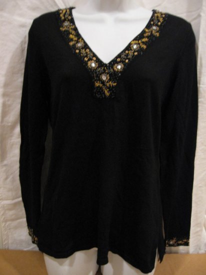 Brand New Women's black pullover from I.N.C., silk blend, size PM