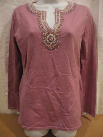 Brand New Women's shirt with Hand beaded with delicate work man from I.N.C., size PL