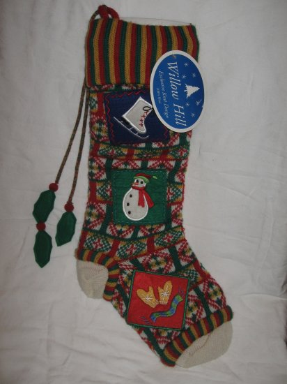 NEW Luxury Christmas Patchwork Stocking, Willow Hill by Jabara -- Free Shipping