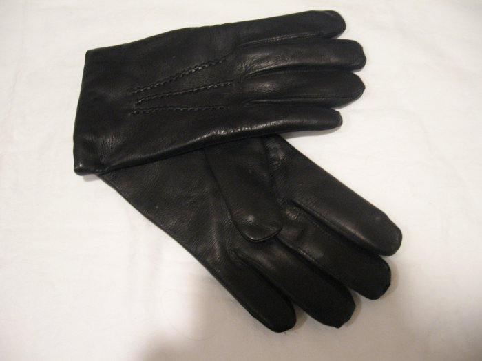 $60 New Leather Gloves with Lambs Wool Lining, Black, size L