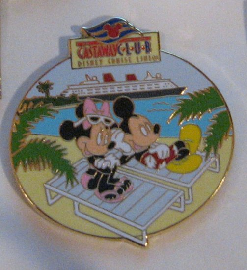 Disney Pins :  DCL Disney Cruise Line Castaway Club with Mickey and Minnie Pin