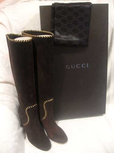 $925 New in Box Auth GUCCI  Women BROWN SUEDE BOOTS SHOES size 7 1/2  7.5 B