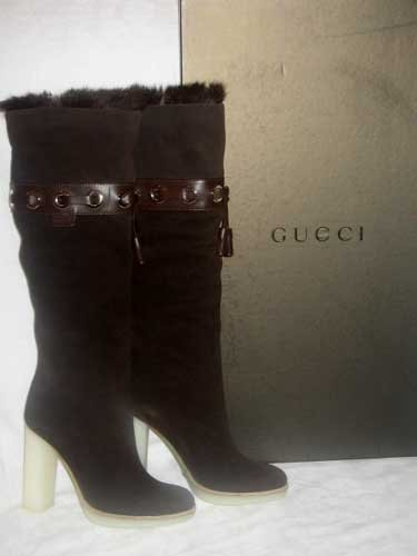 $995 New in Box Authentic GUCCI Women BROWN SUEDE FUR KNEE HIGH BOOTS SHOES sz 10
