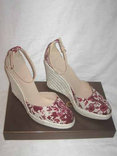 $445 New in Box Authentic GUCCI Women WEDGE FLORAL CANVAS SANDAL shoes 9