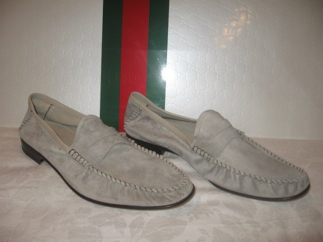 $495 New in Box  Authentic GUCCI MEN MOCA PELLE SUEDE SHOES sz 10 D - FREE SHIPPING