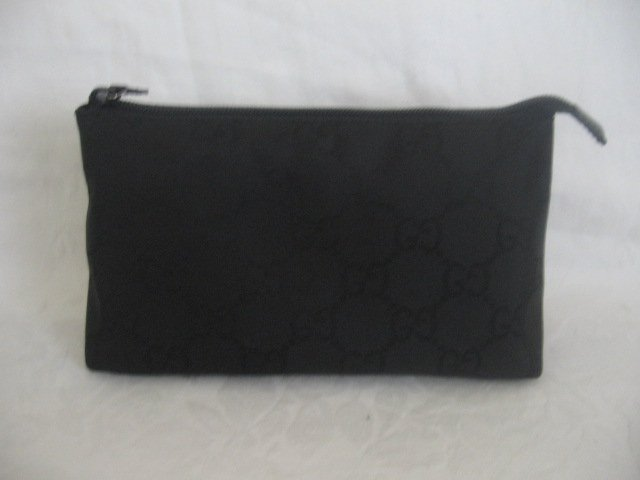 $249 NEW Authentic GUCCI BLACK COSMETIC CASE BAG GG - FREE SHIPPING