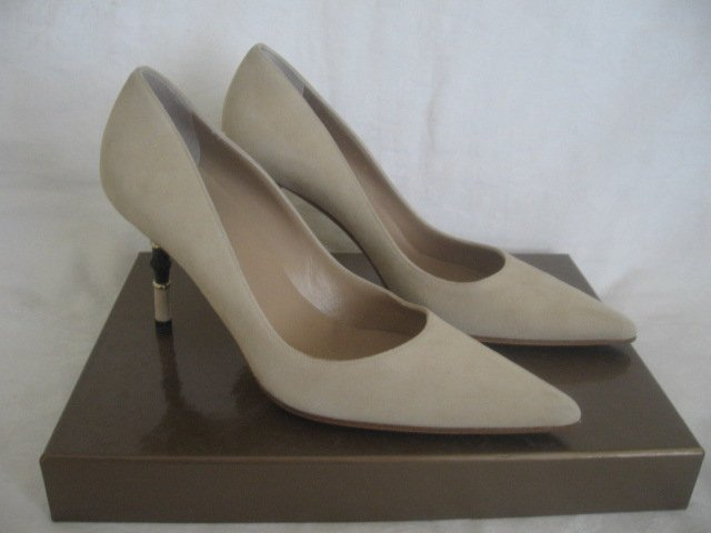 $450 New in Box Authentic GUCCI SUEDE  Pumps BAMBOO Heels SHOES size 7 B - FREE SHIPPING.