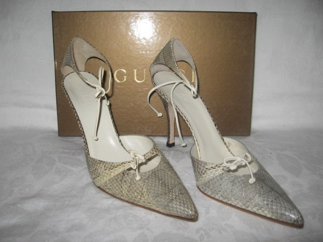 $675 New in Box  Authentic GUCCI  HEELS PYTHON Shoes Sandals size 9 B - FREE SHIPPING