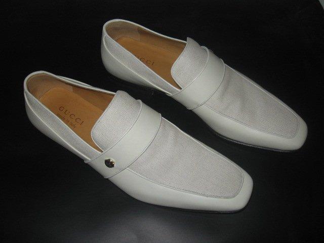 $495 NIB AUTH GUCCI LOAFERS LOGO Shoes sz 9.5 D