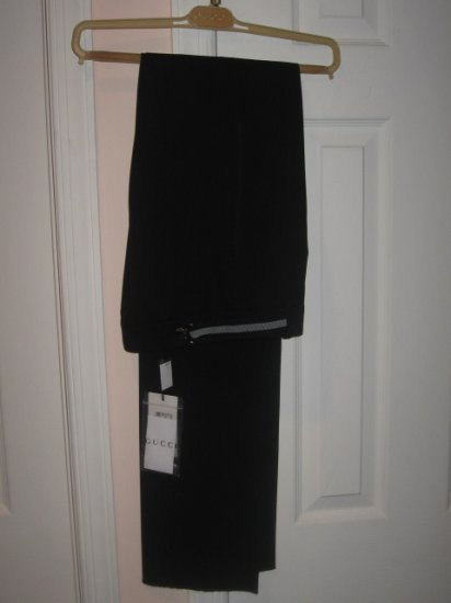 New with TAG Authentic GUCCI WOMEN BLACK PANTS with BELT sz 44 ITALY, 10 USA - FREE SHIPPING.