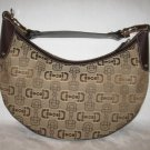 $1.2K NEW Authentic GUCCI  CANVAS LEATHER LOGO HORSEBIT HOBO HANDBAG