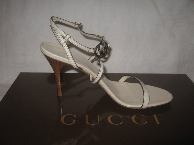 New in Box Authentic GUCCI Women SANDALS SHOES Heels GG LOGO size 10 B - FREE SHIPPING