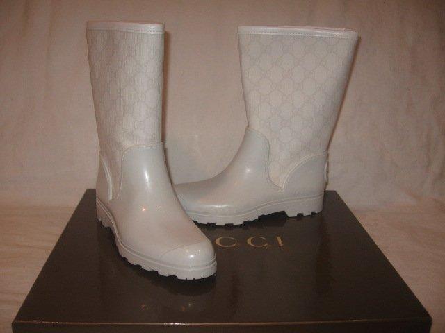 New  Authentic GUCCI Women RAIN BOOTS FUR GG LOGO shoes size 35 G  5