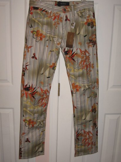 NEW with tags Authentic GUCCI MEN PANTS COLORFUL FLORAL size 46 / 32 - Free Shipping