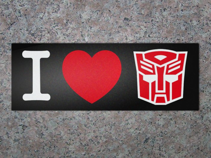 """I Heart Autobot"" Magnetic Bumper Sticker"