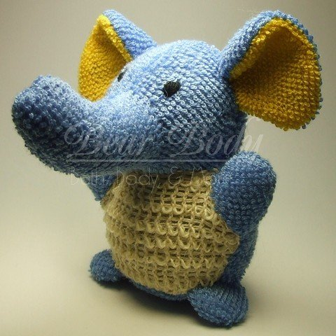 Kids BLUE ELEPHANT Animal Scrubby Sponge - Terri cloth & Sisal