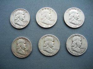 6 USA Silver Half Dollars-90% Silver