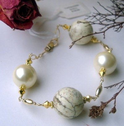 B0006 - BRACELET 8 INCH ADJUSTABLE WITH YELLOW TURQUOISE (FREE SHIPPING)(SELL NATALIA)