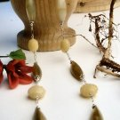 N00107 - NECKLACE WITH NATURAL ANTIQUE JADE GREEN AND YELLOW BEADS (FREE EARRINGS)
