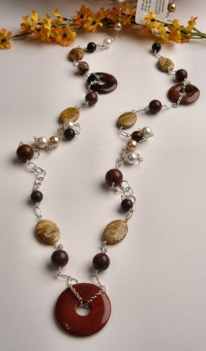N0618 - NECKLACE WITH AUTHENTIC BROWN OBSIDIAN CIRCLE WITH JASPER AND SHELL (FREE EARRINGS)