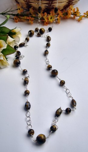 N0613 - NECKLACE WITH NATURAL BROWN TIGER EYE BEADS (FREE EARRINGS)