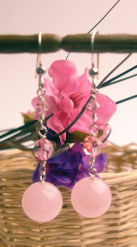 E0026 - EARRINGS WITH PINK QUARTZ AND SWAROVSKI CRYSTAL (FREE SHIPPING)