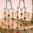 E0040 - EARRINGS  WITH RED CORAL AND SWAROVSKI CRYSTAL (FREE SHIPPING)