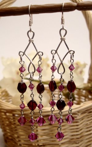 E0023 - EARRINGS WITH PURPLE AMETHYST AND SWAROVSKI CRYSTAL (FREE SHIPPING)