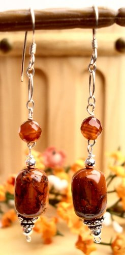 E0030 - EARRINGS WITH NATURAL BROWN JASPER AND CARNELIN BEADS (FREE SHIPPING)