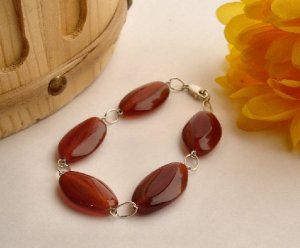 B0020 - BRACELET WITH NATURAL BROWN AVENTURINE OVAL (FREE SHIPPING)