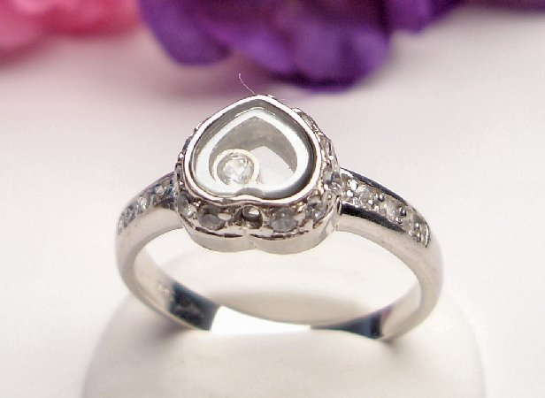 R0003 - RINGS WITH CZ CLEAR - FILIGREE DESIGNED HEART (FREE SHIPPING)