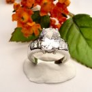 R0043 - RING WITH CLEAR CUBIC ZIRCONIA / BAGUETTES (FREE SHIPPING)