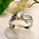 R0041 - RING WITH CLEAR CUBIC ZIRCONIA / BAGUETTES (FREE SHIPPING)
