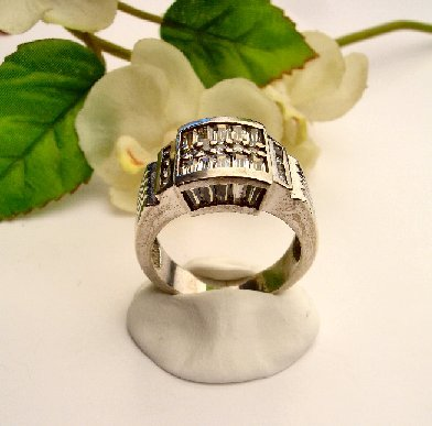 R0052 - RING MAN'S WITH CUBIC ZIRCONIA / BAGUETTES (FREE SHIPPING)