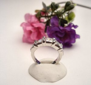 R0081 - RING WITH CLEAR CUBIC ZIRCONIA BAGUETTES (FREE SHIPPING)