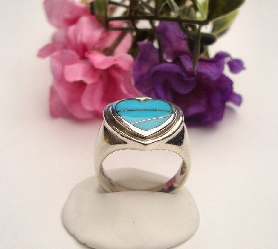 R0080 - RING WITH BLUE TURQUOISE HEART (FREE SHIPPING)