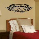 wall decal Personalized Crossed Checkered Racing Flag, single color