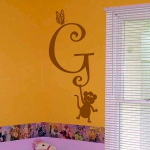wall decal kids room monogram with butterfly and monkey