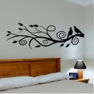 wall decal modern abstract tree branch with two love birds